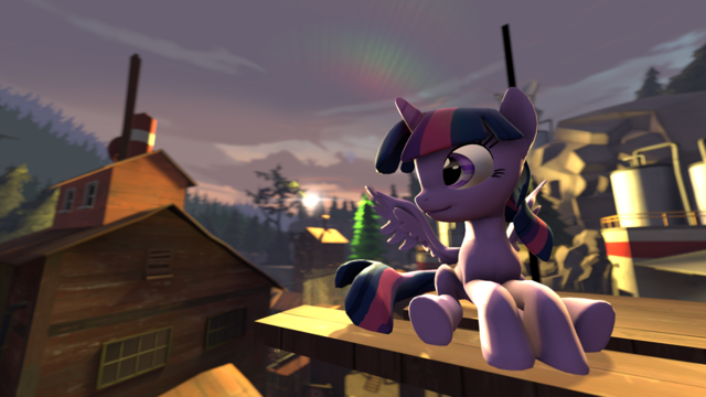 File:FANMADE - SFM Twilight Sparkle Sit at the Sunset.png