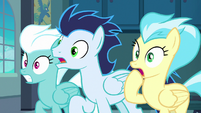 Fleetfoot, Soarin, and Misty Fly gasp in shock S8E5