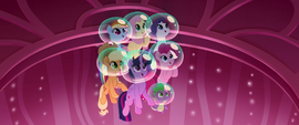 Mane Six and Spike listening to Skystar's story MLPTM