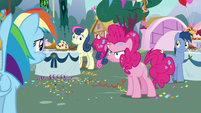 Pinkie Pie looking angry at Rainbow Dash S7E23