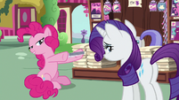 Pinkie tells Rarity to read the new Vanity Mare S7E19