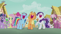 Rainbow, Applejack, and Rarity singing S5E18.png
