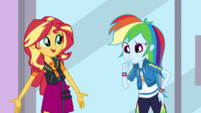 Rainbow Dash thinking as Sunset Shimmer speaks EGDS2