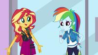 Rainbow Dash thinking as Sunset Shimmer speaks EGDS2