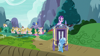 Starlight and Trixie leaving Ponyville S8E19