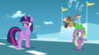 Twilight, Spike, and foals hear Starlight S5E26