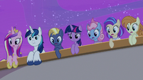 Twilight Sparkle and ponies looking overboard S7E22