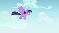 Twilight Sparkle flying over Ponyville S7E14