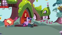 Twilight Sparkle reading on doorstep S4E21