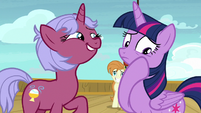 Twilight Sparkle wiping off Cruise Pony's spit S7E22