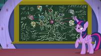 Twilight looks at her Tree of Harmony diagram S8E22
