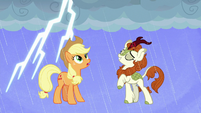 AJ and Autumn Blaze under the rain S8E23