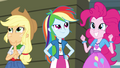 Applejack, Rainbow, and Pinkie in gymnasium EG2.png