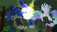 Celestia and Luna blasting the trees S9E13