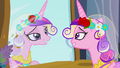 Chrysalis as Cadance looking at mirror S2E26.png