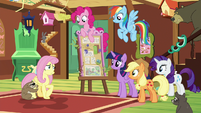 Fluttershy embarrassed by her outburst S7E5