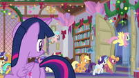Main ponies and students leaving the school S8E16