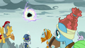 Pillars of Old Equestria watching the portal close S7E26.png