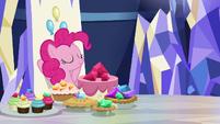 Pinkie Pie sitting in her throne S8E24