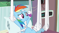 Rainbow Dash growing suspicious S4E10