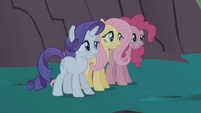 Rarity, Fluttershy, and Pinkie frightened S1E02