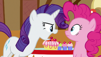 Rarity shouting at Pinkie --quit it!-- S6E15