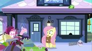S03E11 Zaskoczona Fluttershy patrzy na rozrzucone bagaże
