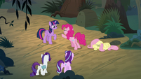 Starlight and Rarity find Twilight and Pinkie arguing S8E13