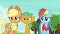 Applejack, Rainbow, and Snails looking confused S6E18.png