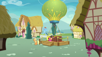 Applejack and Rainbow wait by the balloon S8E5