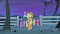 Applejack and friends begin the stakeout S4E07.png