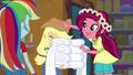 Gloriosa Daisy giving Applejack a new hat EG4.png
