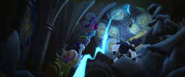 Mane Six and Storm King race for the Staff MLPTM