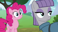 Pinkie Pie and Maud Pie looking behind S8E3