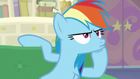 Rainbow Dash angrily pouting on the couch S8E17