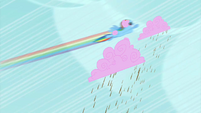 Rainbow Dash pushing the cloud S2E01