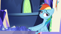 Rainbow Dash rolls her eyes at Pinkie S8E21