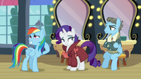 Rainbow blushes; Rarity looks at Wind Rider with a smug smile S5E15