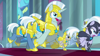 Royal guards charging at Cozy Glow S9E24