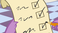 Spike checking a checklist S4E01