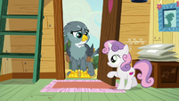 Sweetie Belle opens clubhouse door for Gabby S6E19