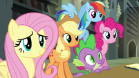 Twilight's friends smiling at Rarity S4E25