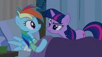 Twilight scrutinizes 'sleeping' Rainbow Dash S2E16