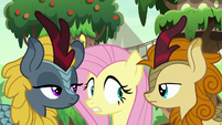 Two Kirin staring at Fluttershy S8E23