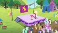 Apple Bloom and Orchard Blossom doing Sisterhooves cheer S5E17.png