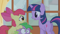 Apple Bloom on Spike's head S1E09