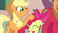 Applejack tousling Apple Bloom's mane S7E13.png
