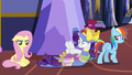 Fluttershy, Rarity, and Rainbow looking upset S7E14.png