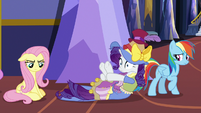 Fluttershy, Rarity, and Rainbow looking upset S7E14