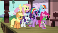 Mane Six and Spike watch the train leave S9E26